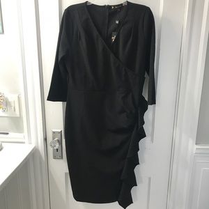 Black pencil dress with ruffle XL NWT